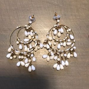 J.Crew White Bead Hoop Earrings